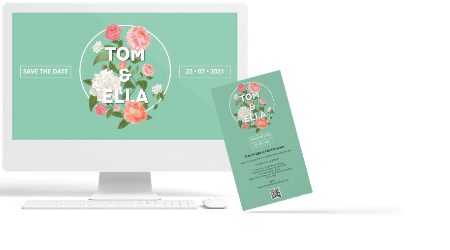 An image of a wedding website template with a vintage design